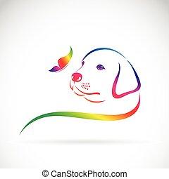 arrière-plan., vecteur, papillon, logo, chien blanc