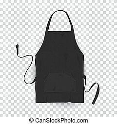 arrière-plan., vecteur, réaliste, noir, apron., cuisine, illustration, transparent