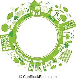arrière-plan vert, concepts, conception, blanc, penser