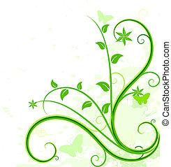 arrière-plan., vert, floral