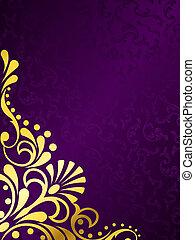 arrière-plan violet, filigrane, or, vertical