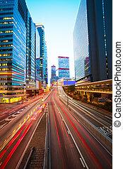 arrière-plans, route, moderne, bâtiments, pistes, lumière, hong kong