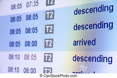 arrivée, aéroport, vol, planche