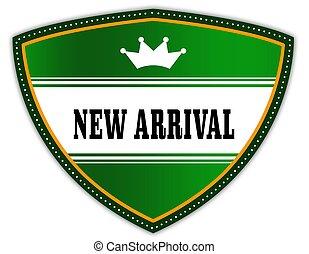 arrivée, bouclier, écrit, crown., vert, nouveau