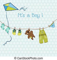 arrivée, garçon, texte, ou, douche, vecteur, endroit, bébé, ton, carte
