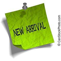arrivée, illustration., épingle, noter papier, vert, poussée, nouveau, message
