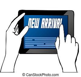 arrivée, illustration., pointage, texte, main, tablet., nouveau