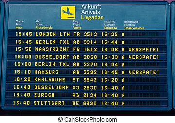 arrivée, information, aéroport, vol, planche