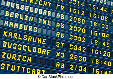 arrivée, information, vol, -, départ, aéroport, planche