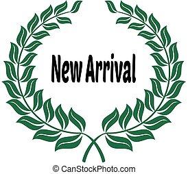 arrivée, laurels, autocollant, vert, label., nouveau