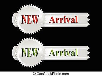 arrivée, nouveau, étiquette, argent, icône