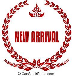 arrivée, nouveau, badge., rouges, laurels