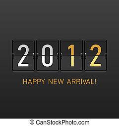 arrivée, nouvel an, 2012