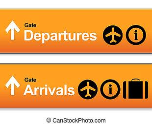 arrivée, orange, aéroport, départs, signes