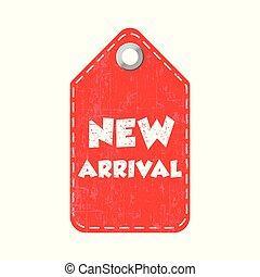 arrivée, pendre, illustration, vecteur, nouveau, tag.
