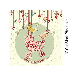 arrivée, poussette bébé, carte, oiseaux