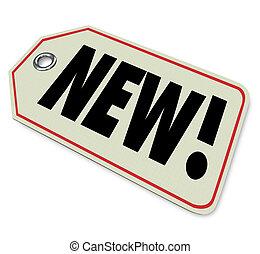 arrivée, produit, newest, affaire, étiquette prix, marchandise, nouveau, spécial