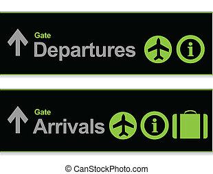 arrivée, signal, -, aéroport, départs