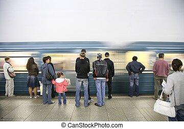 arrivée, train, métro