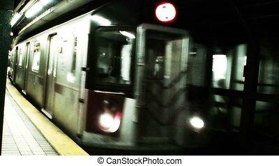 arrivée, train, york, nouveau, (1016), métro