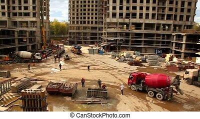 arrive, site, mélangeur, béton, construction, rouges