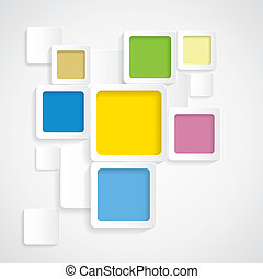 arrondi, coloré, graphi, -, vecteur, fond, frontières, carrés