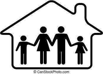 arrondi, famille, maison, sûr, parents, maison, enfants