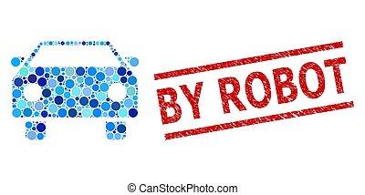 arrondi, points, voiture, mosaïque, impression, textured, robot, timbre