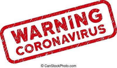 arrondi, rectangle, grunge, avertissement, timbre, coronavirus, cadre