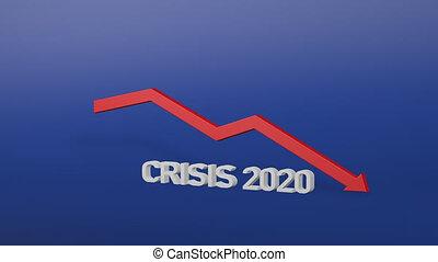 arrow., rouges, financier, rendre, 2020, global, 3d, diminuer, crash., covid-19, crise, concept