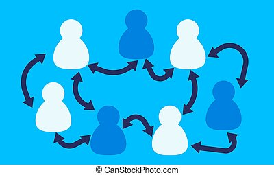 arrows., gens, icônes, vecteur, bleu, illustration, équipe travail, fond, concept.