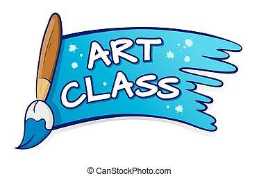 art, éclaboussure, signe, pinceau, classe