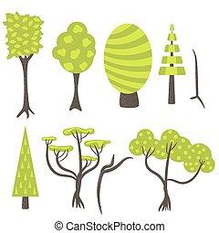 art, agrafe, nature, set., arbre, vecteur