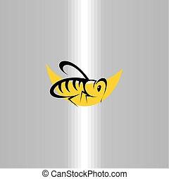 art, agrafe, symbole, abeille, vecteur, icône