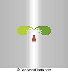 art, agrafe, symbole, arbre, vecteur, paume, logo, icône