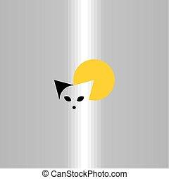 art, agrafe, symbole, chat, vecteur, logo, icône