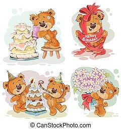 art, agrafe, teddy, anniversaire, voeux, ours, illustrations, vous, heureux