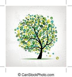 art, arbre, vert, figures, conception, ton