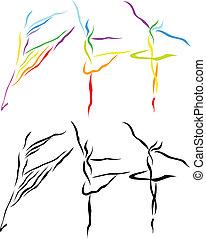 art, ballet, silhouette, ligne