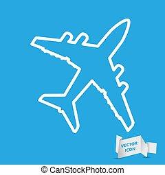 art, bleu, pictogramme, fond, avion, ligne