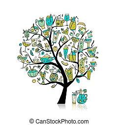 art, collection, arbre, conception, ton, boissons