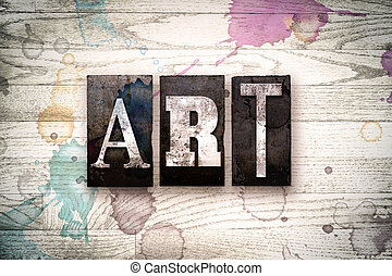 art, concept, métal, letterpress, type