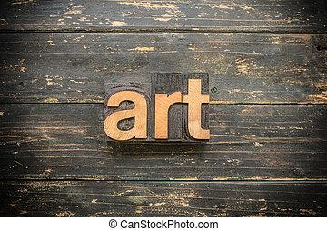 art, concept, type, letterpress, bois, mot, vendange