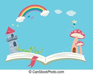 art conter, fantasme, livre, fond, illustration