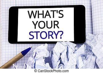 art conter, texte, signe, passé, ton, quel, personnel, stylo, suivant, écrit, photo, conceptuel, écran, it., projection, question., histoire, téléphone, cahier, expériences, dire, mobile, placé