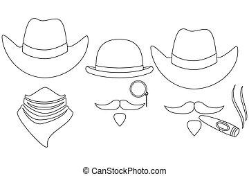 art, cow-boy, avatars, 3, noir, occidental, ligne, blanc