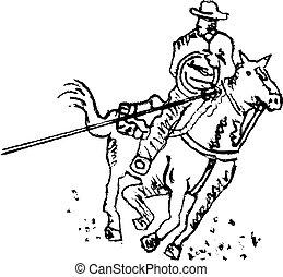 art, cow-boy, rodéo, occidental, ligne, cavalier