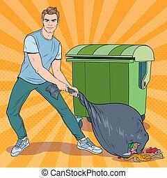 art, déchets, stinky, jeune, pop, vecteur, illustration, tenue, type, déchets ménagers, bag., homme