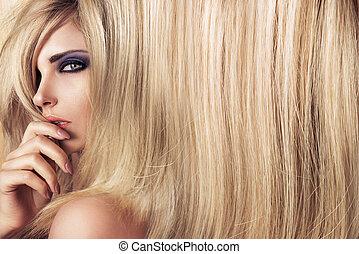 art, directement, jeune, longs cheveux, closeup, portrait, modèle
