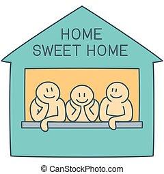 art, doux, -, trois, illustration, fenêtre, vecteur, caractères, maison, ligne